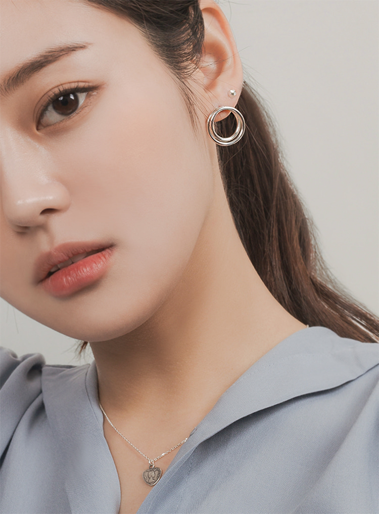 [92.5 silver] Two circle earring (2color)