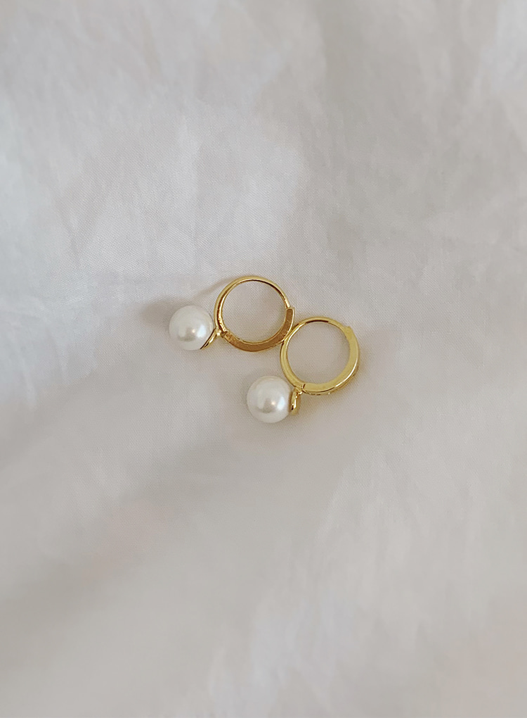 [92.5 silver] Onetouch pearl earring (2color)