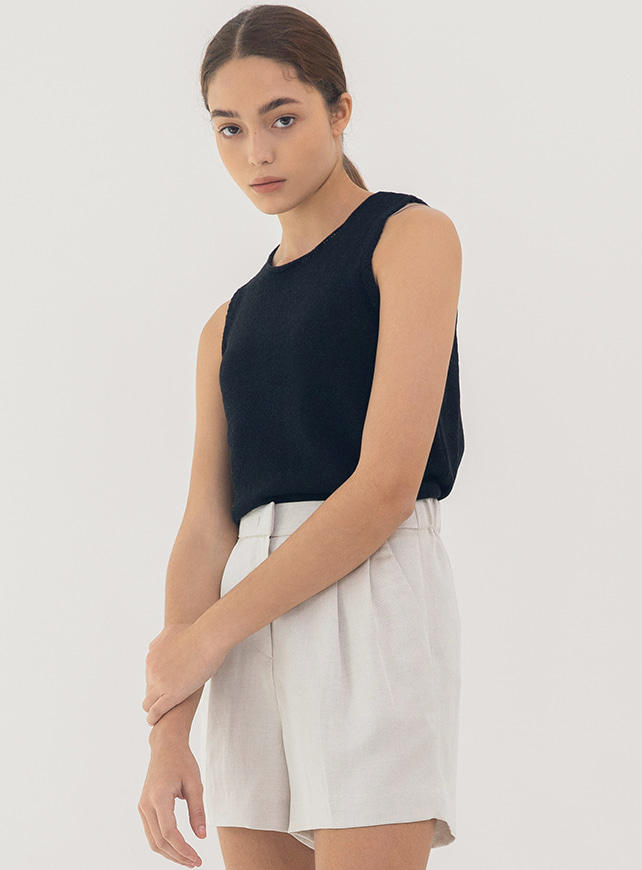 Knit linen sleeveless (black)