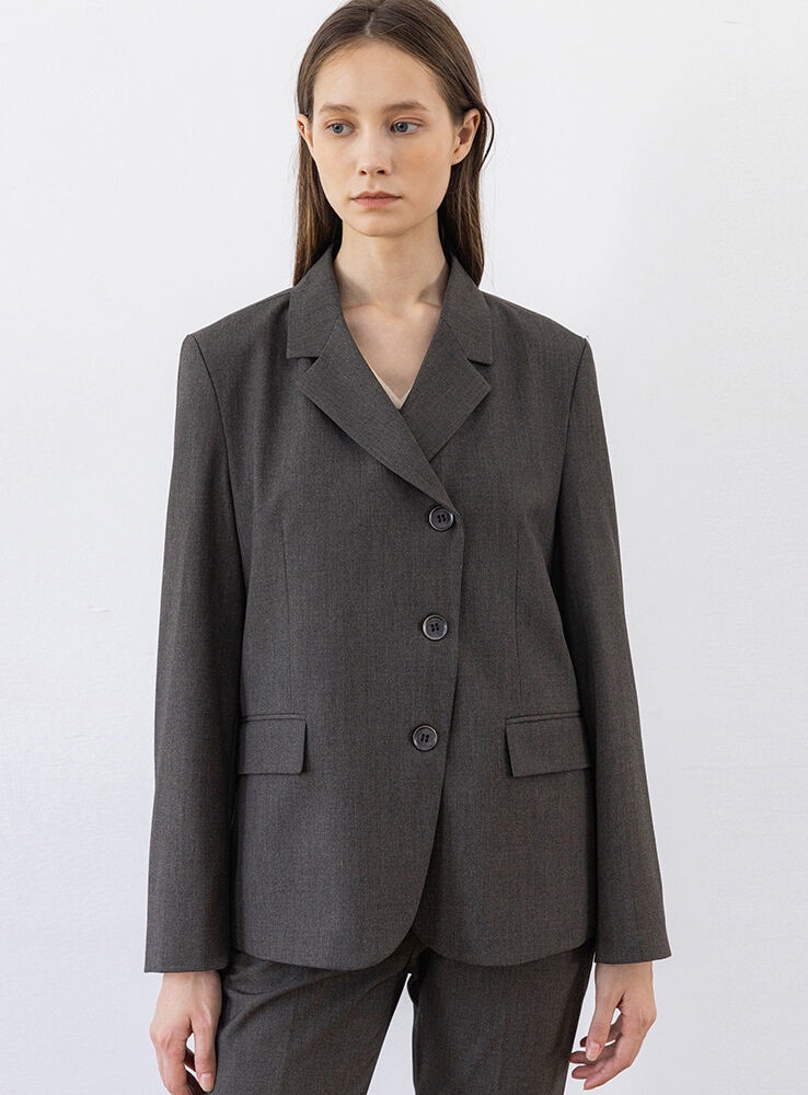 Oblique line jacket (charcoal)