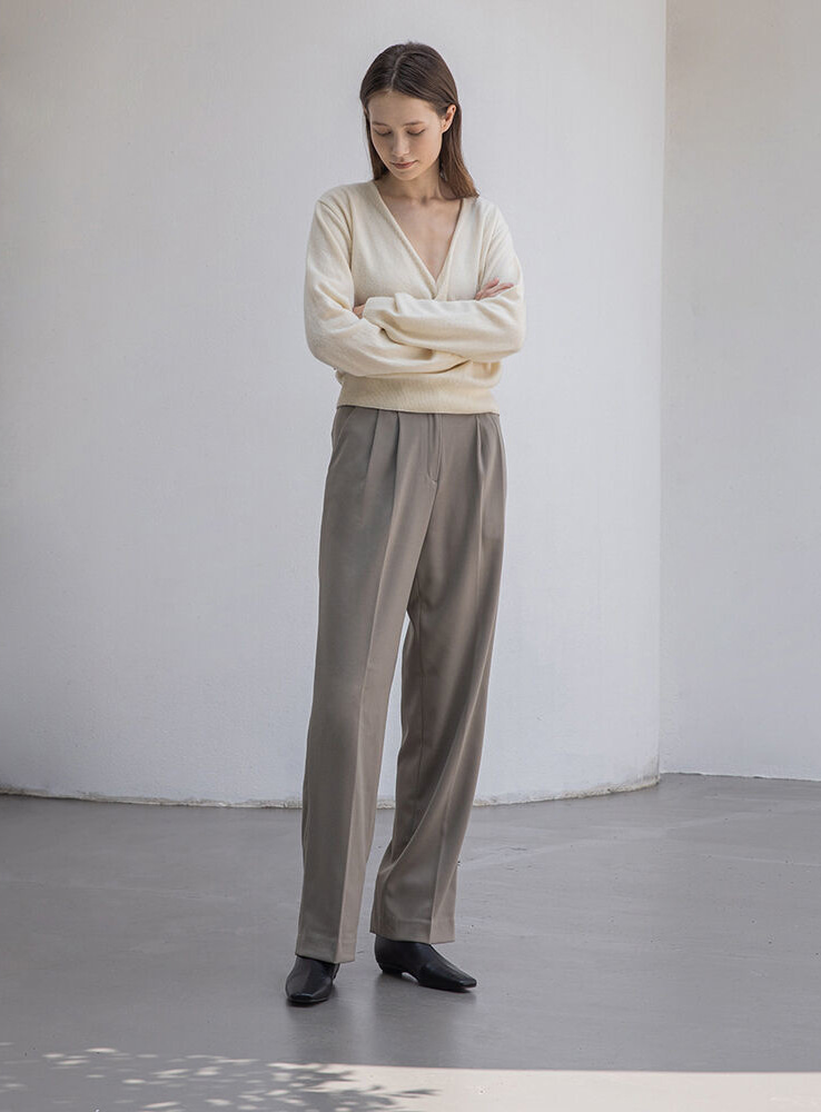 Pintuck wide slacks (khaki brown)