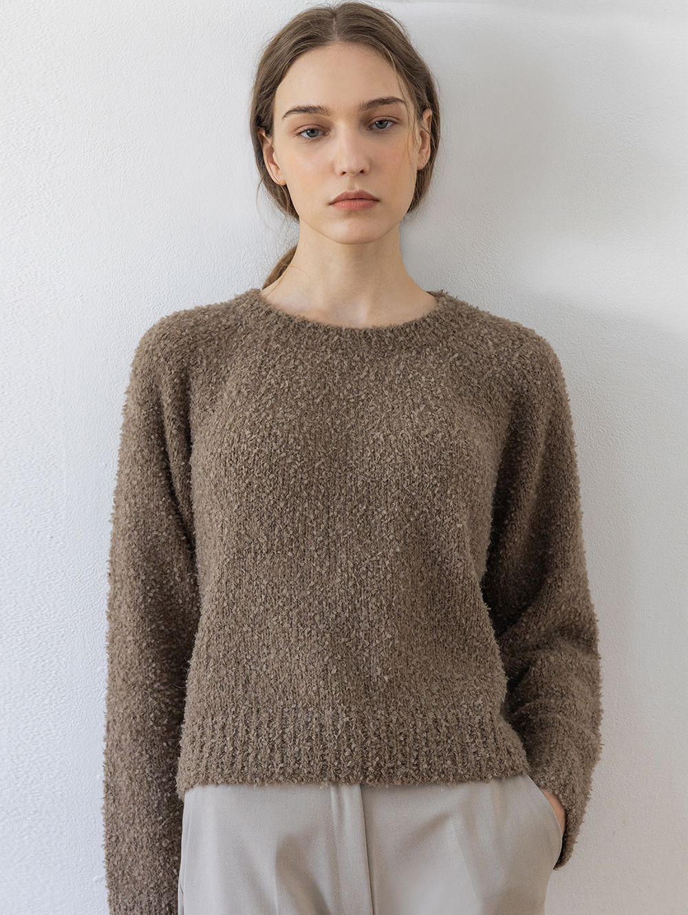 Alpaca round sweater (brown)