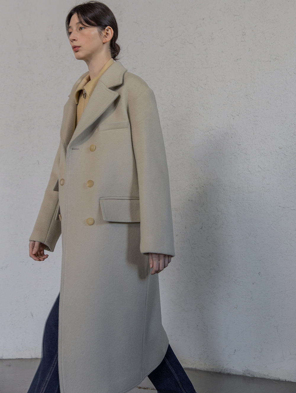 Wool double pocket coat (Light beige)