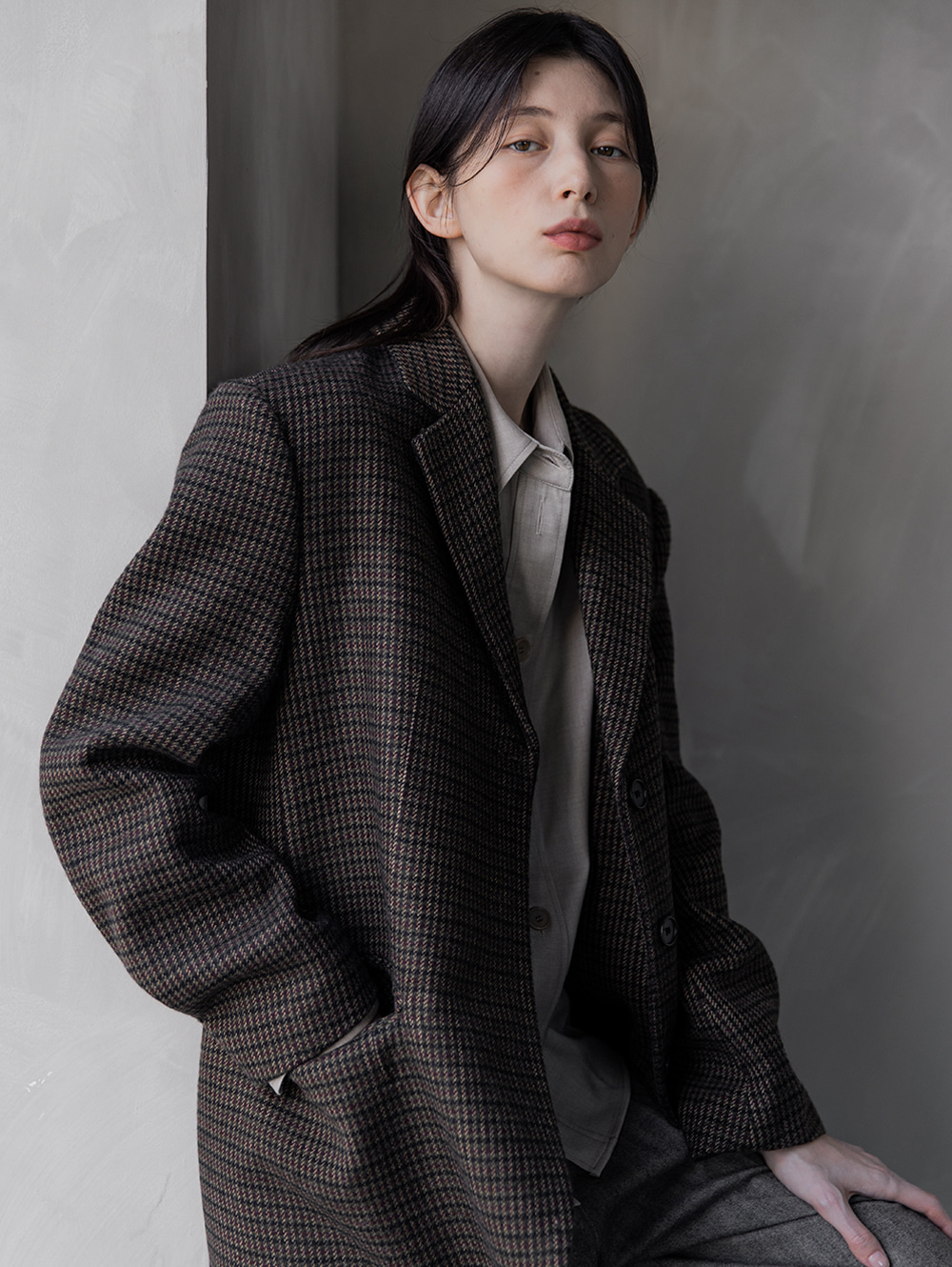 Check wool jacket (deep brown)