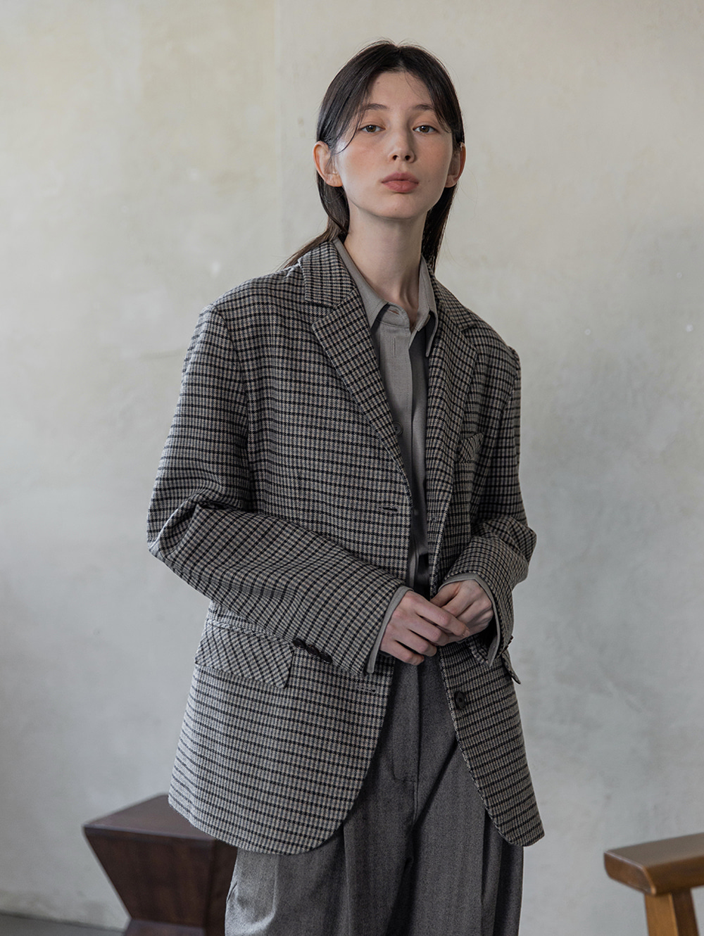 Check wool jacket (beige)