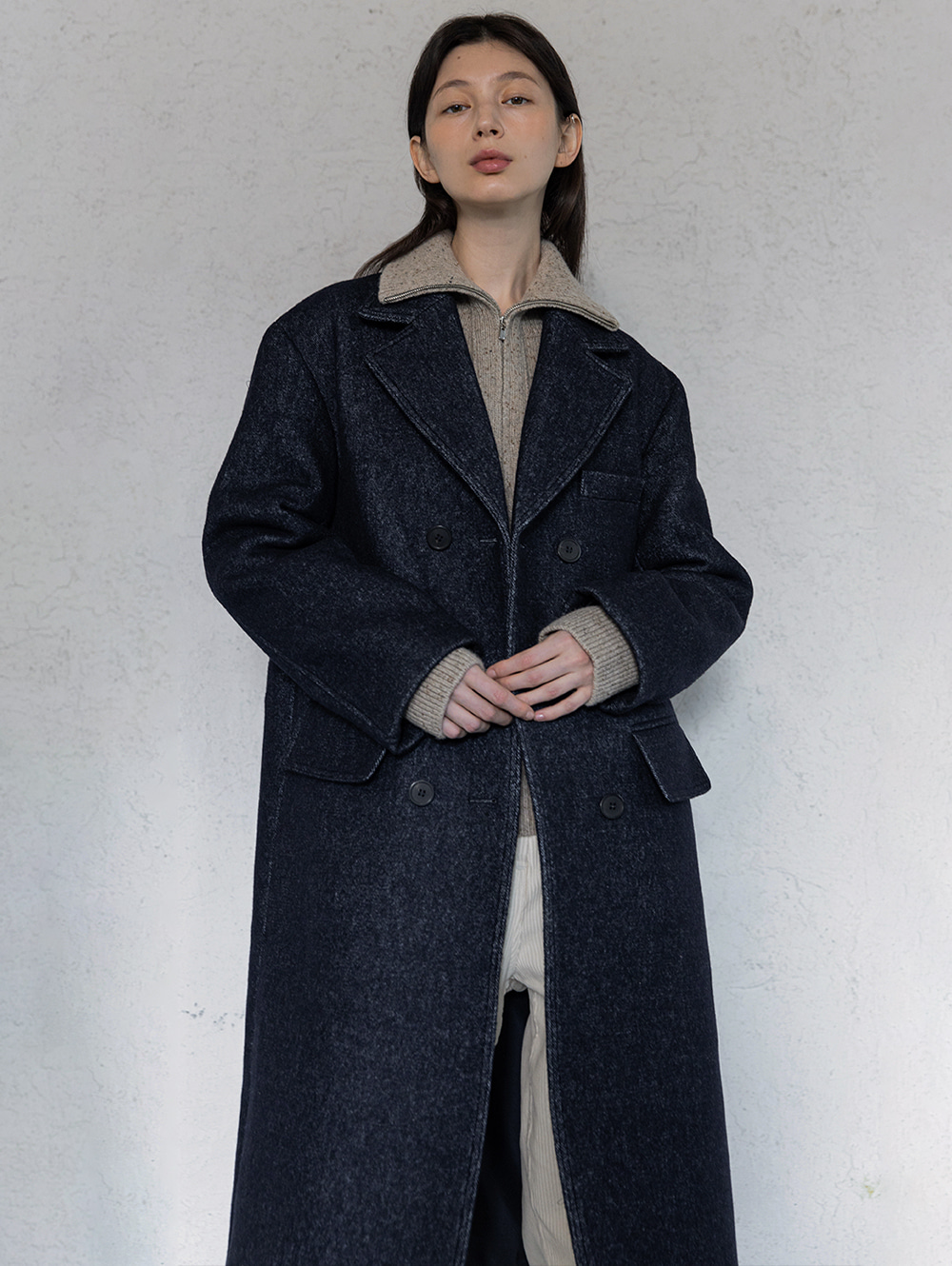Wool double pocket coat (deep blue)
