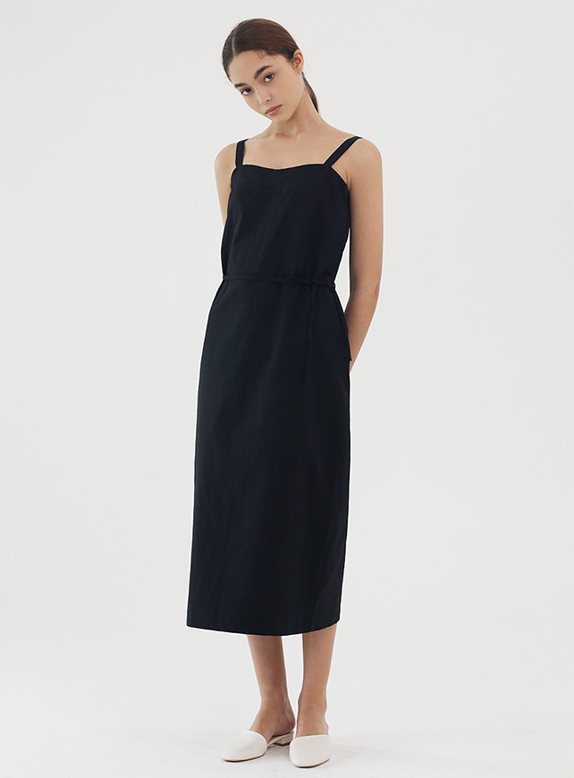 Linen sleeveless one piece (black)